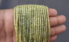 """16"""" Long Green Zircon Faceted Rondelle Beads Making Jewelry Gemstone Wholesale"""