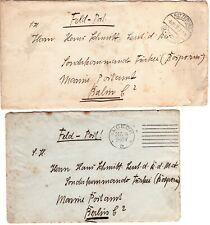1916 Germany Offices in Turkey (2) Covers Lubeck Ratzeburg to Sonderkommando