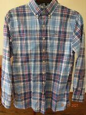 Vineyard Vines Boy's Blue Pink White Plaid Button Up Whale Shirt Size L 16