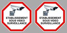 2 X VIDEO SURVEILLANCE ETABLISSEMENT SOUS ALARME CAMERA STOP 9cm STICKER VA096