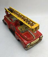 "TIN FRICTION FIRETRUCK TOY 1950S Y JAPAN PUSH BUTTON LADDER RARE 11"" FD FIRE DEP"