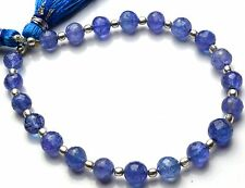 """Natural Gem Tanzanite Facet 6MM Rondelle Beads Fine Quality 7"""" Strand 52Cts."""