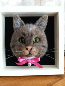 Ooak Needle Felted Framed Cat Animal Mouse Handmade By Nicky 🐈❤