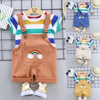 Summer Toddler Baby Boy Kids Rainbow Stripe Tops T-shirt Straps Short Outfit Set