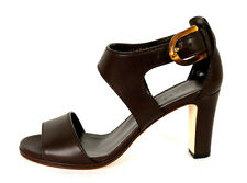 GUCCI $795 Brown Leather Bamboo Buckle NADEGE Strappy Sandals 38.5 NEW