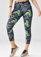FABLETICS Mid Rise Printed PowerHold® Capri Leggings Sz Small Blue Green Floral