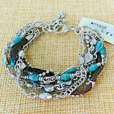 Lucky Brand Bracelet Multi Strand Silver Tone Chain Turquoise Stone Leather NEW