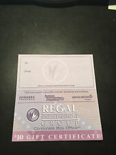 5 Regal Movie $10 Gift Certificates Good 4 Admission Tickets Passes Concession.