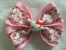 "Girls Hair Bow 4"" Wide Hello Kitty Flowers Pink Ribbon Flatback French Barrette"
