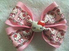 "Girls Hair Bow 4"" Wide Hello Kitty Flowers Pink Ribbon Flatback Alligator Clip"