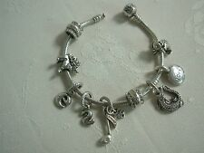 PANDORA STERLING SILVER CHARM BRACELET WITH 9 CHARMS ~ 39 GRAMS ~ TAKE A LOOK!!
