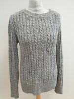 K744 WOMENS SUPERDRY GREY KNITWEAR CREW NECK WOOL JUMPER UK M EU 50