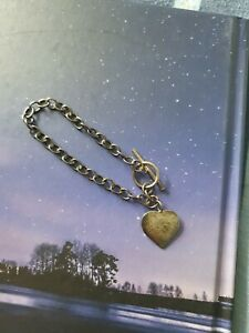 Sterling Silver T Bar Bracelet With Heart Tag