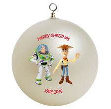 Personalized Toy Story Buzz Lightyear and Woody Christmas Ornament Gift Add Name