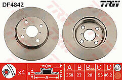 Fits Yaris 1.3 1.33 VVTi Petrol 1.4 Diesel 06-12 Front Brake Discs 258mm Vented