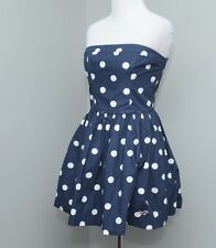 Hollister Strapless Dress Nautical White Navy  Blue Polka Dot Size Small