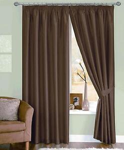 """Chocolate Brown Faux Silk Curtains-Pencil Pleat Header -66"""" (168 cm) x 90"""" (229)"""
