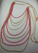 Gold Plated/Pink Enamel Multiple Chain Tiered Necklace
