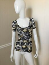 Sweet Pea NEW! Charcoal Gray/Yellow/Ivory Floral Short Sleeve Nylon Top S NWOT!