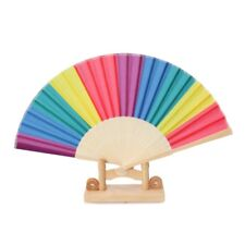 Rainbow Hand Held Folding Fan Dance Fan For Wedding Themed Parties Decor