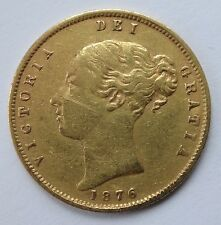 Victoria Shield back gold Half Sovereign coin 1876 nice grade Die 10 - 1048