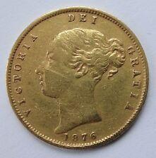 Victoria Shield back gold Half Sovereign coin 1876 nice grade Die 10 - 1048