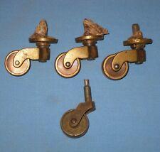 VTG Lot 4 Brass Casters Furniture Industrial Salvaged Wheels Steampunk!