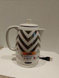 BELLA Electric Ceramic Tea Kettle 1.2 Liter Silver Chevron pretty metallic