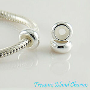 Plain 925 Solid Sterling Silver European Rubber Stopper Spacer Bead Charm