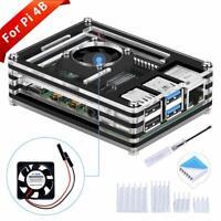 GeeekPi Acrylic Case for Raspberry Pi 4 Model B, Raspberry Pi 4B Case with Fan