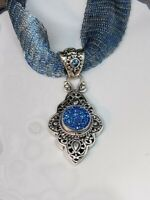 Deep Blue Drusy, Swiss Blue Topaz & 925 Sterling Silver Filigree Necklace