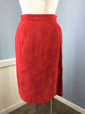 Vintage Toffs Red Suede Leather Skirt S 4 6 Career Cocktail Straight Pencil Euc