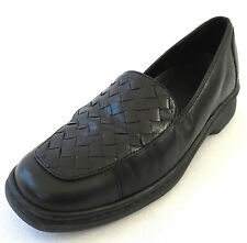 Clarks Springers Loafers 7.5 Black Woven Leather Womens Slip On Pump Shoes 31200