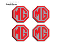 MG ZS LE500 Style Alloy Wheel Centre Caps Badge Inserts Red Silver 45mm Badges