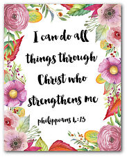 I Can Do All The Things Through Christ Print, Philippians Bible Verse Quote
