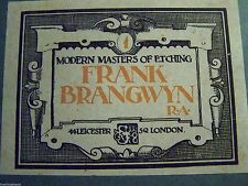 RARE ART BOOK - MODERN MASTERS OF ETCHING FRANK BRANGWYN 1925 PART 1 HARDBACK