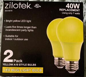 2 New Yellow LED Bug Light Bulb 7 watt (40w Replacement) Indoor/Outdoor 1-2 Pack