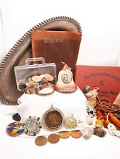 Junk drawer lot Vintage Collectibles Figurines Jewelry Coins Books Buttons