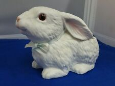 1987 White Bunny Rabbit Ceramic Planter by Inarco