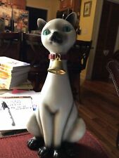 """1950's Vintage Sitting Siamese Cat Figurine With Ringing Bell  12"""""""
