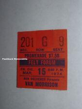 Van Morrison 1974 Concert Ticket Stub Msg New York City Felt Forum Them Rare