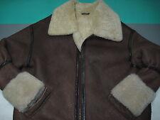 Calafate Aviation B-3 Shearling Wool Brown Leather Flight Jacket Mens XL