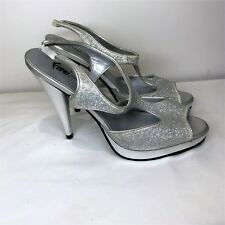 Fioni Nights Sliver Glitter Sparkle Heels Cruise Wedding Party Shoes sz 7 ½