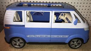 2002 Mattel Barbie VW Bus Van Blue and white Volkswagen Vehicle Sliding Door