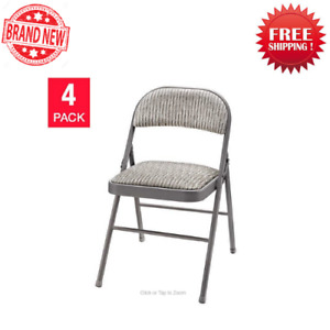 MECO Sudden Comfort Deluxe Metal Fabric Padded Folding Chair, Gray (4 Pack)