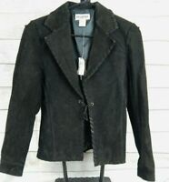 Passport Black Suede Leather Jacket Womens Size Small Coat