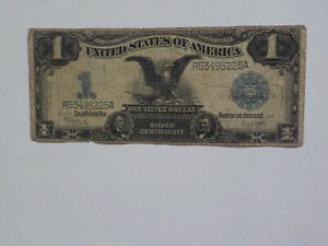 Silver Certificate 1899 1 Dollar Bill Black Eagle Note Paper Money Currency Old