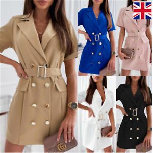 Women New Blazer Shirts Mini Dress Coats Ladies short sleeves Coat Outwear Dress