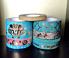 8 Pc. Mermaids, Seashells, Scales, Glitter, Phrases, Crafting Washi Tapes