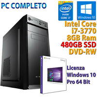 PC Ordenador Sobremesa Intel Core i7-3770 RAM 8GB SSD 480GB Dvdrw Windows 10 Pro